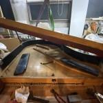 グランドピアノ ピン板修理、アップライトピアノ 腕木塗装です。
